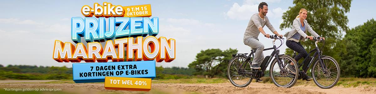 Prijzen Marathon: t/m 15 oktober tot wel 40% korting op e-bikes van o.a. Gazelle, Batavus, Sparta, Giant en Victesse!