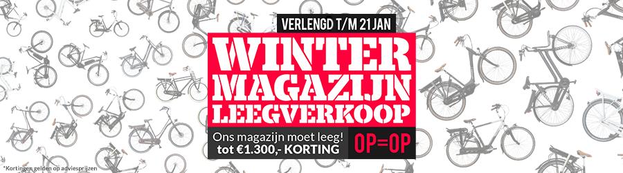 Winter Magazijn Leegverkoop: verlengd t/m zondag 21 januari van hoge kortingen op fietsen en e-bikes!