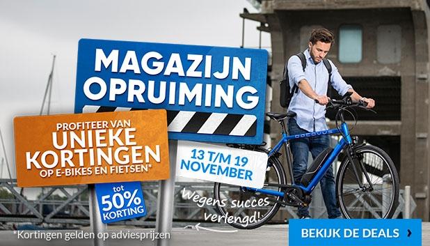 Magazijnopruiming! Profiteer t/m 19 november van unieke kortingen tot 50% op e-bikes en fietsen!