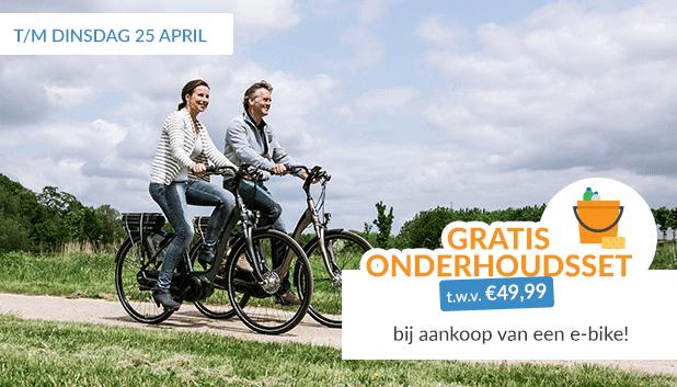 Nu een gratis onderhoudsset t.w.v. €49,99 bij aankoop van een e-bike!