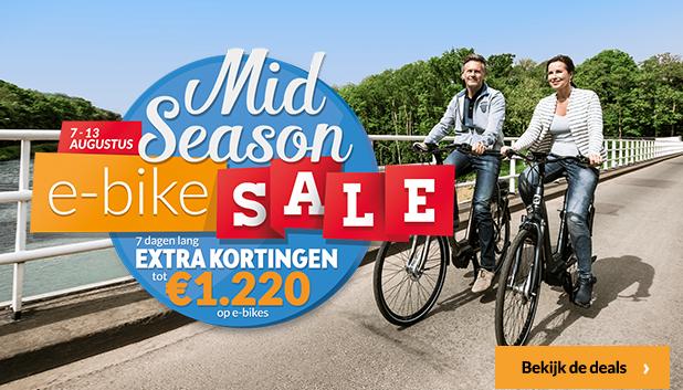 Profiteer van maandag 7 augustus t/m zondag 13 augustus tot €1220,- korting op verschillende e-bikes!