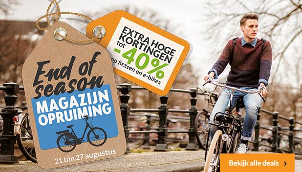 End of Season Magazijnopruiming. Profiteer tot en met 27 augustus van kortingen tot 40% op fietsen e-bikes!