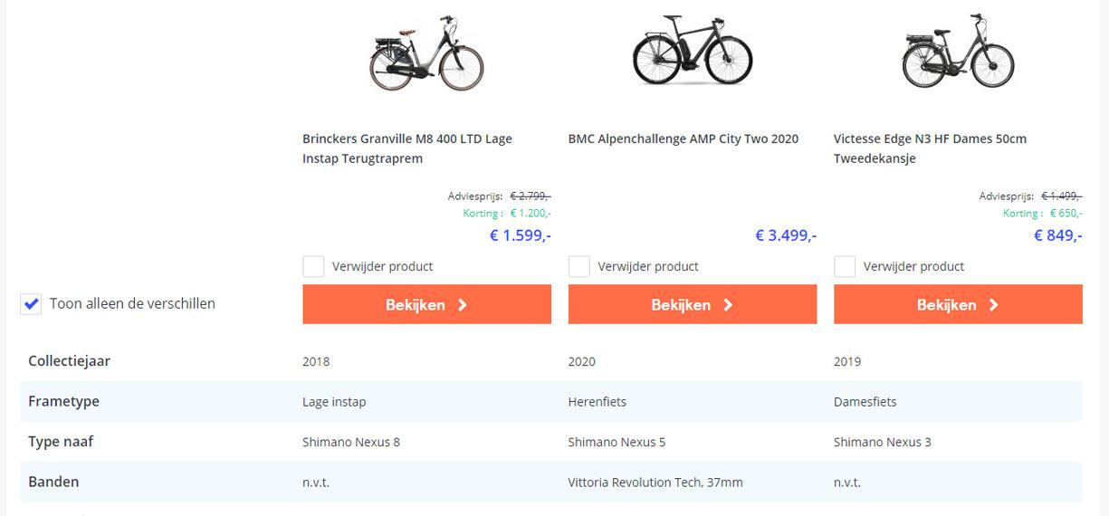 Vergelijk e-bike specificaties in één oogopslag