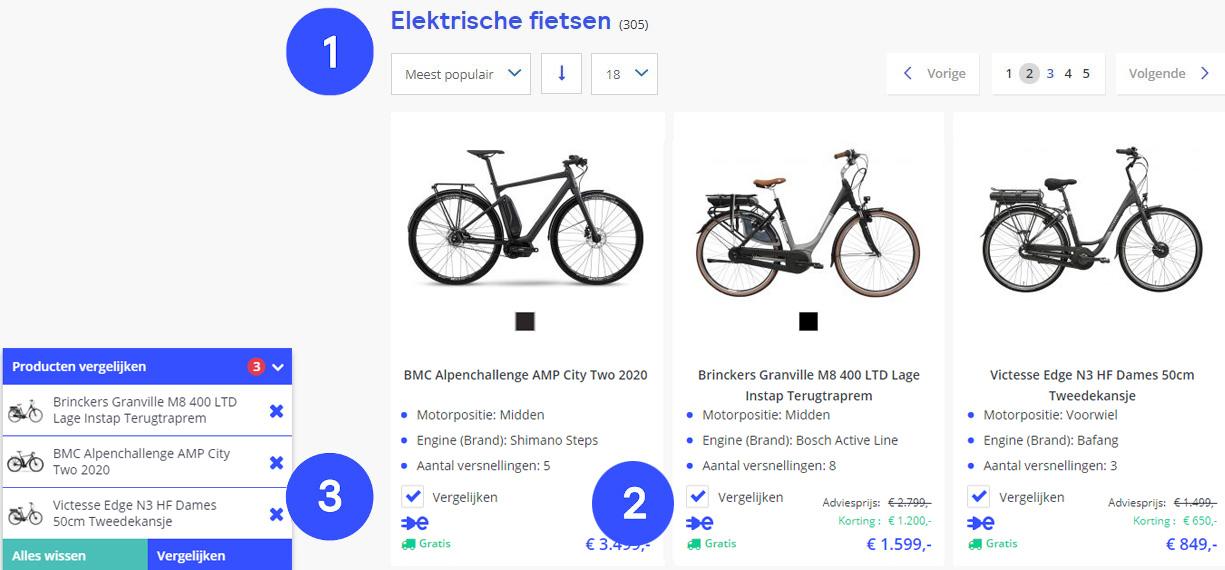 Vergelijk e-bikes in drie stappen op Fietsenwinkel.nl