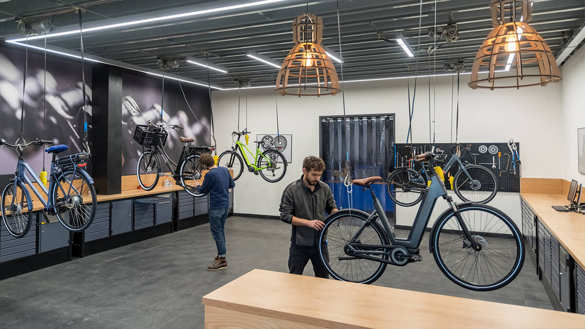 Grote werkplaats voor onderhoud aan uw elektrische fiets